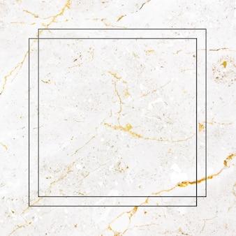 白い大理石の背景ベクトル上の正方形の黒いフレーム