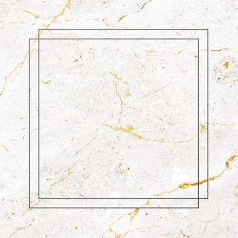 Square black frame on white marble background vector