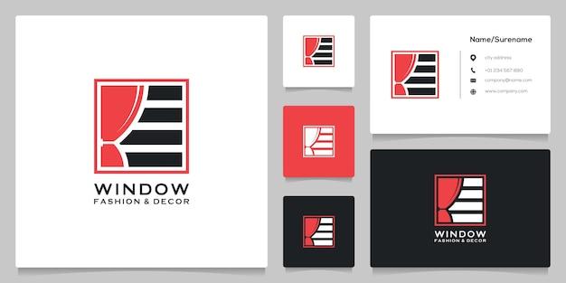 명함이 있는 사각 블라인드 커튼 창 로고 디자인