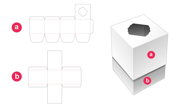 Square box and lid which has top window die cut template