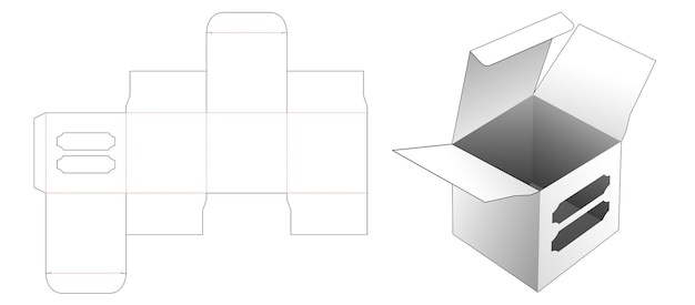 Square box with 2 windows die cut template