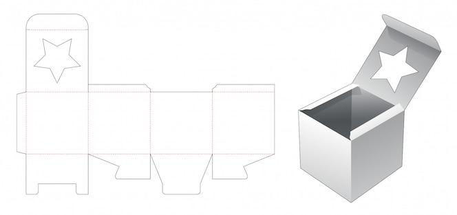 스타 창 다이 컷 템플릿 사각형 상자