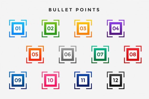 Square business bullet points numbers set