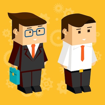 Square businessmen. 3d characters for business infographics, dressed in business suits on the orange background