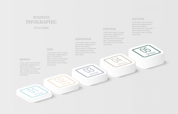 Square or button 3d infographics.