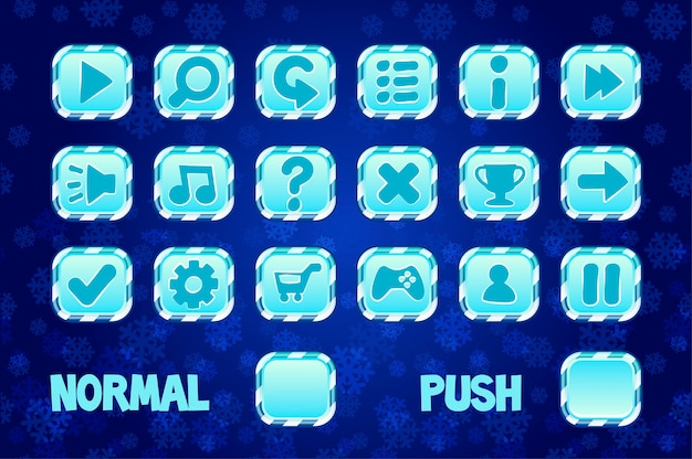 Square buttons for mobile or computer game design. normal and push button.