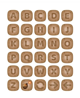 Square buttons wood a-z alphabet words game.