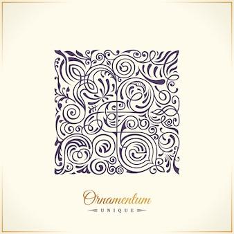 正方形の書道の花のエンブレムのロゴデザイン