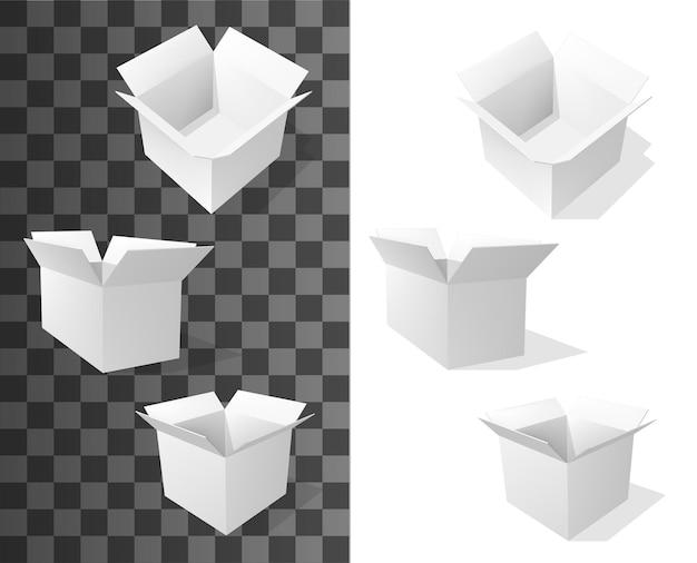Квадратные картонные коробки, реалистичная векторная упаковка