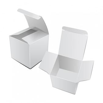 Square cardboard plastic package box.