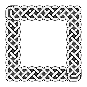 Square celtic knots vector medieval frame in black and white