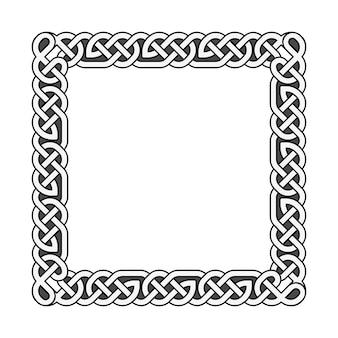 Квадратные кельтские узлы векторная средневековая рамка в черно-белом