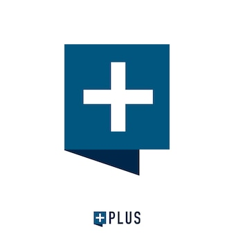 Square chat bubble and plus mark logo concept