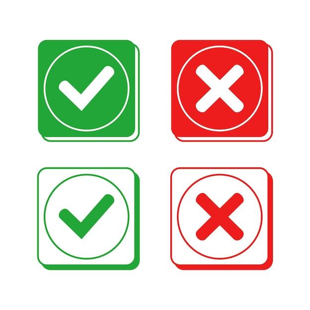 正方形のチェックマークと十字記号のベクトルデザイン
