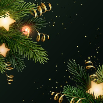 Square christmas background  with fir branches, glowing stars, gold serpentines and luminous light bulbs. dark gray backdrop with copyspace.