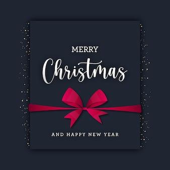 金色のキラキラと赤い弓の正方形のクリスマスカード