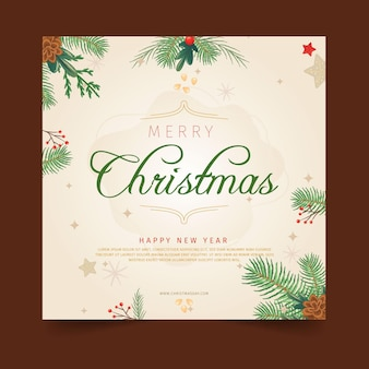 挨拶と正方形のクリスマスチラシテンプレート