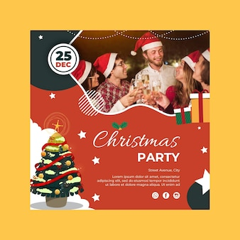 Square christmas flyer template with people