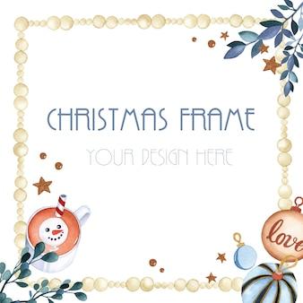 白い背景の上の正方形のクリスマスフレーム装飾要素水彩