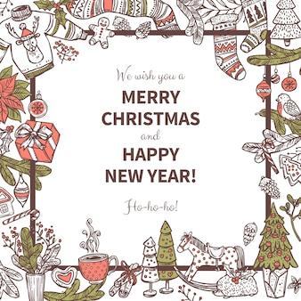 Квадратная новогодняя рамка с различными праздничными иконами и элементами. каракули омела, чулки, еловые и еловые ветки, венок, колокольчик, подарочные коробки, свеча