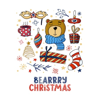 Square christmas greeting card design with bear and funny bearrry christmas text