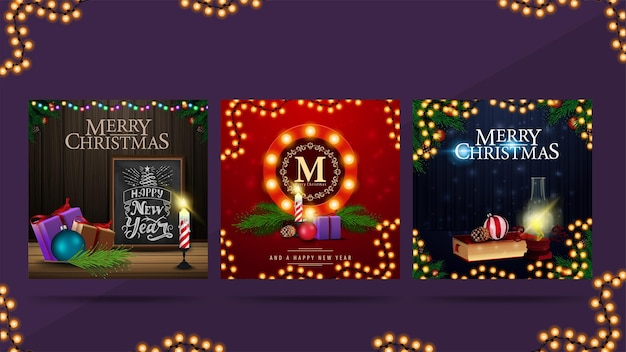 Square christmas postcards with round greeting symbol