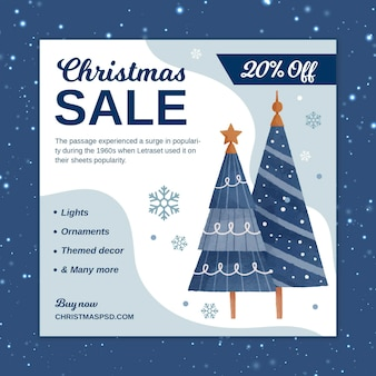 Square christmas sale flyer template with trees