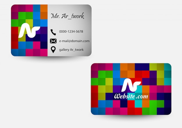 Square colored business card