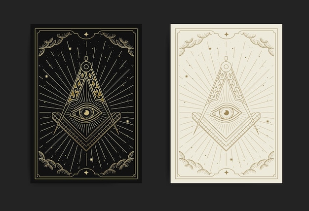 The square, compasses dan allseeing eye with engraving, handrawn, luxury, esoteric, boho style, fit for spiritualist, tarot card, astrology or tattoo