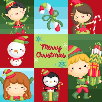 Square composition of girl and boy in elf costume