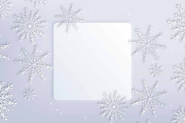 Square copy space winter background in paper style and snow