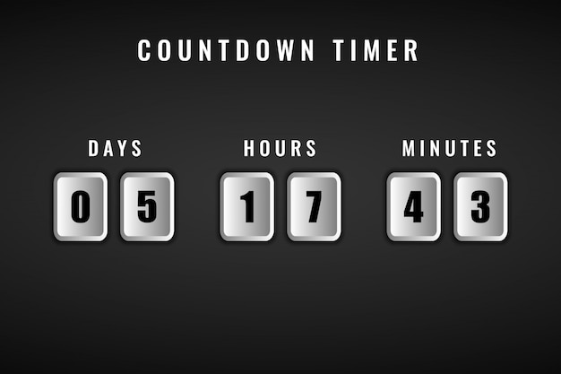 Square days hours and minutes time remaining countdown timer