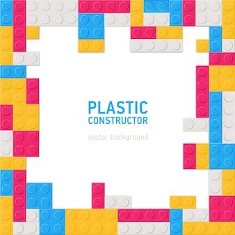 正方形の装飾的な背景、またはプラスチック構造の詳細で作られたフレームまたはボーダー付き