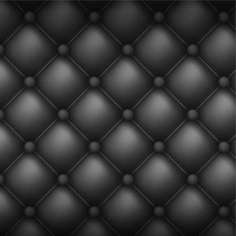 Квадратная декоративная обивка стеганого фона. черная кожа текстура диван фон.