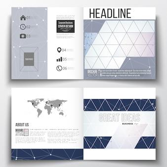 Square design bi fold brochure templates