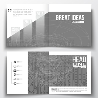 Square design brochure templates with technology backgrounds