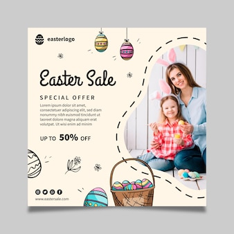 Square easter sale flyer template