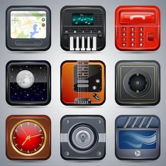 Square electronic icons, interface elements set