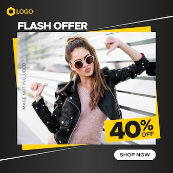 Square fashion sale banner for instagram and web