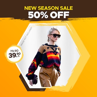 Square fashion sale banner for web and social media post