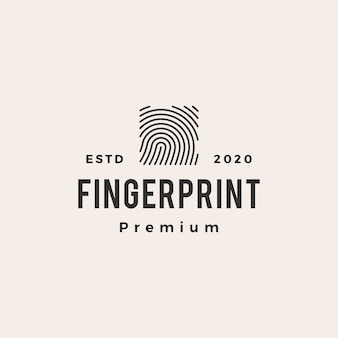 Square finger print  vintage logo  icon illustration