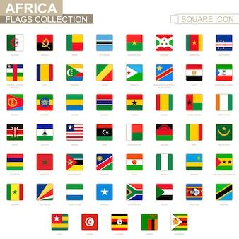 Квадратные флаги африки. от алжира до зимбабве. векторные иллюстрации.