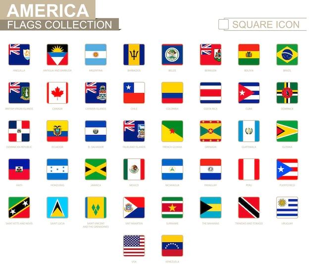 Квадратные флаги америки. от ангильи до венесуэлы. векторные иллюстрации.