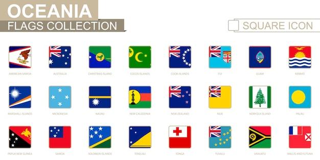 Квадратные флаги океании. от американского самоа до уоллиса и футуны. векторные иллюстрации.