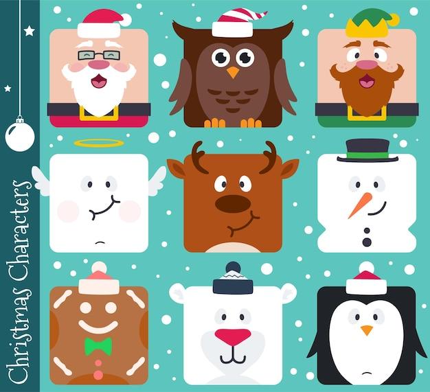 Квадратные плоские рождественские герои мультфильмов, такие как санта-клаус, сова, эльф, ангел, олень, снеговик