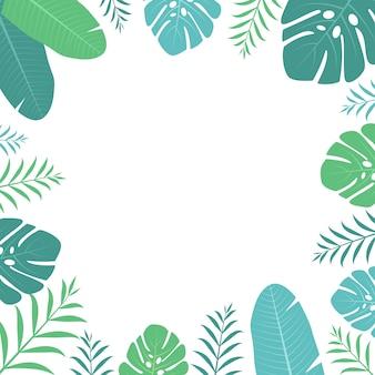 Square flat tropical leaves border