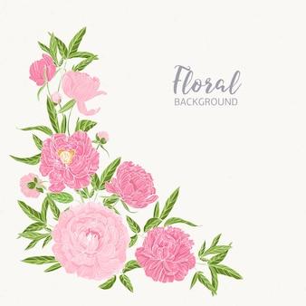 左下隅に咲くピンクの牡丹で飾られた正方形の花の背景。