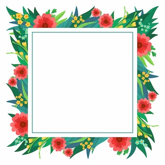 Square flower frame with bright flowers and leaves
