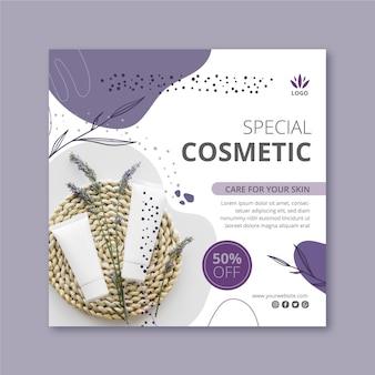 Square flyer for cosmetic products with lavender