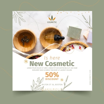 Square flyer for cosmetic products